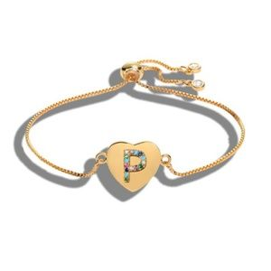 Jewelry - NWT Gold Multicolor P Initial Name Heart Bracelet